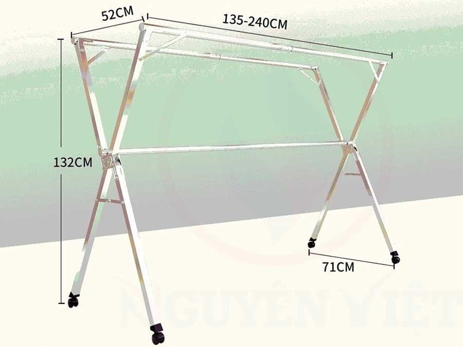Kích thước chuẩn dành cho cây phơi đồ SNV-01